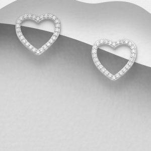 Cercei Pure Heart din Argint placat cu rodiu