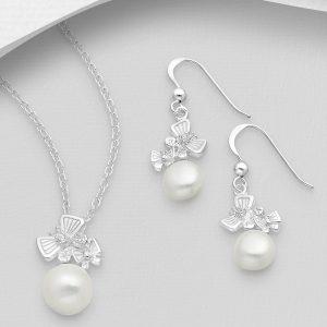 Set din Argint Lovely Butterfly Pearl
