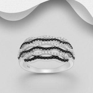 Inel din Argint Black Beauty placat cu Rodiu Negru