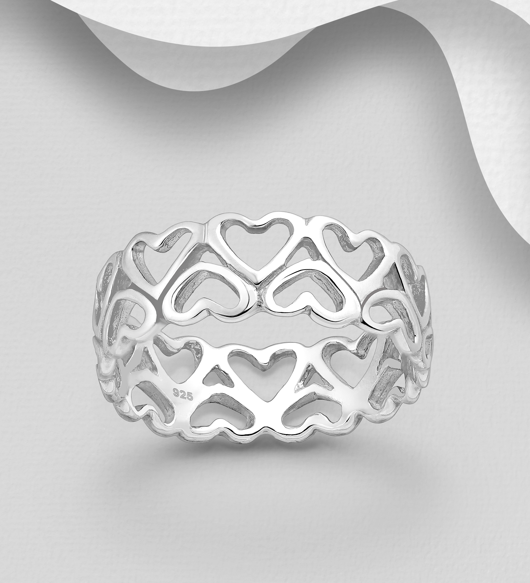 Inel lat din Argint Forever Hearts